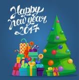 Arbre de sapin pour la nouvelle année 2017 et le Joyeux Noël Photo libre de droits