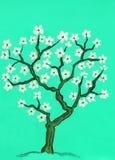 Arbre de source dans la fleur, peignant Images stock