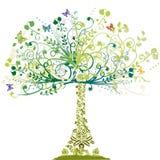 Arbre de source - ornement floral illustration de vecteur