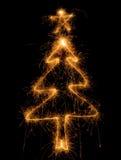 arbre de sparkler de Noël images libres de droits