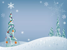 Arbre de vacances dans la neige Image libre de droits