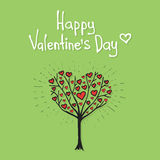 Arbre de Valentine avec le vecteur de coeurs Photos stock
