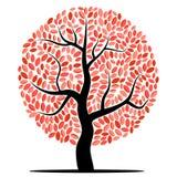 Arbre de vecteur avec les feuilles rouges Image libre de droits