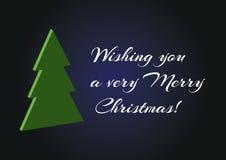 Arbre de vert de Noël 3d sur le fond bleu, carte simple minimalistic de Joyeux Noël de vecteur te souhaitant un Noël très Joyeux Photo stock
