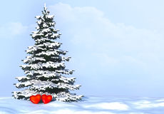Arbre des coeurs dans l'amour Fond avec l'arbre de sapin neigeux et coeurs dans l'amour Photos stock