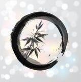 Arbre en bambou en cercle dans le sumi-e de style japonais Photos libres de droits