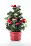 Arbre et boîte-cadeau de Noël sur le fond blanc Image stock
