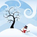 Arbre et bonhomme de neige Photos libres de droits