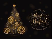 Arbre et boules de carte de Noël avec le lettrage Photo stock