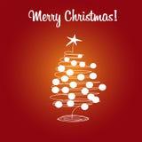 Arbre et boules de Noël de carte Images libres de droits