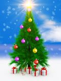 Arbre et cadeau de Noël illustration libre de droits