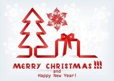 Arbre et cadeau de Noël Photos libres de droits
