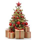 Arbre et cadeaux de Noël décorés photographie stock libre de droits