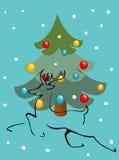 Arbre et cerfs communs de Noël illustration de vecteur