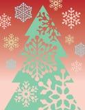 Arbre et flocons de neige de Noël Illustration Stock