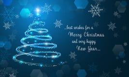 Arbre et flocons de neige de Noël brillants sur le fond bleu d'hiver Papier peint de Joyeux Noël et de bonne année illustration de vecteur