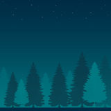Arbre et Forest Night Scene Landscape Photo stock