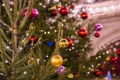Arbre et jouets de Noël dans la rue de la ville de nuit Photos libres de droits