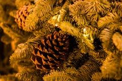 Arbre et jouets de Noël dans la rue de la ville de nuit Photographie stock