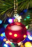 Arbre et lumières de Noël Photographie stock libre de droits