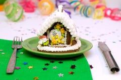 Arbre et maison de Noël de pain d'épice Photos libres de droits