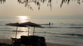 Arbre et mer sur le lever de soleil Photographie stock libre de droits