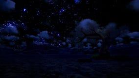 Arbre et montagne solitaires, ciel étoilé avec l'étoile filante, laps de temps, longueur courante banque de vidéos