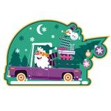 Arbre et présents de vert de Santa Driving Retro Car With Bande dessinée mignonne Santa Claus Sticker illustration de vecteur