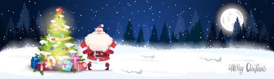 Arbre et Santa Claus Horizontal Banner de Forest Landscape With Glowing Christmas d'hiver de nuit Images stock