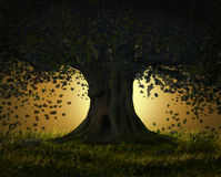Arbre fantastique la nuit Image libre de droits