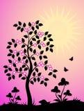Arbre fleurissant et fleurs Image libre de droits