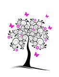 Arbre fleurissant et guindineaux Image stock