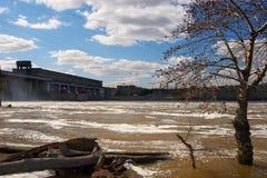 Arbre, fleuve rouge et centrale électrique. Images stock