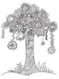 Arbre floral de griffonnage Photo libre de droits
