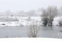 Arbre froid d'hiver avec l'horaire d'hiver de neige images stock