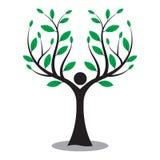 Arbre généalogique, homme d'arbre, logo de nature d'amour illustration stock