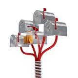 arbre gentil de la boîte aux lettres 3d d'isolement par email Image libre de droits