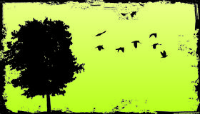 Arbre grunge avec le fond Photographie stock libre de droits