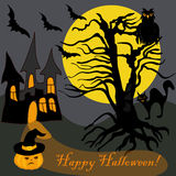 Arbre hanté par Halloween Owl Bat Pumpkin Card de Chambre illustration de vecteur