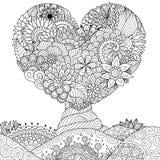 Arbre Hearted de forme pour la dentelle, la carte de valentines, l'autocollant de mur, le livre de coloriage, la page de colorati illustration libre de droits
