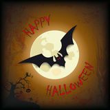 Arbre heureux de batte de lune de Halloween Photos stock