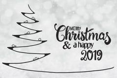 Arbre, Joyeux Noël et un 2019 heureux, Gray Background léger illustration stock