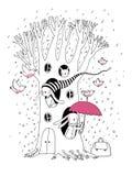 Arbre, lapins et oiseaux magiques Animaux de la forêt illustration de vecteur