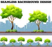 Arbre le long du trottoir avec le fond de bâtiments de ville illustration de vecteur