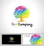 Arbre Logo Artistic Brush Image libre de droits