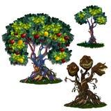 Arbre magique avec des pommes et des citrons et monstre à tête de trois illustration libre de droits