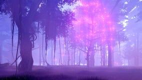 Arbre magique dans l'animation brumeuse de la forêt 4K de nuit clips vidéos