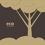 Arbre modelé comme cardbox, concept d'emballage d'eco Photo stock