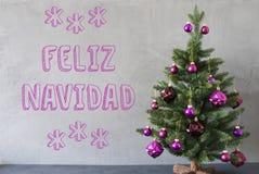 Arbre, mur de ciment, texte Feliz Navidad Means Merry Christmas Image libre de droits