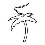 Arbre Palm Beach avec des mouettes Photographie stock